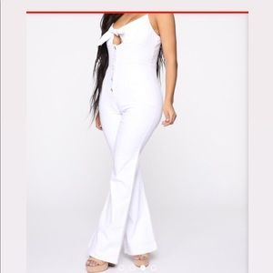 Top Knotch Denim Jumpsuit - White
